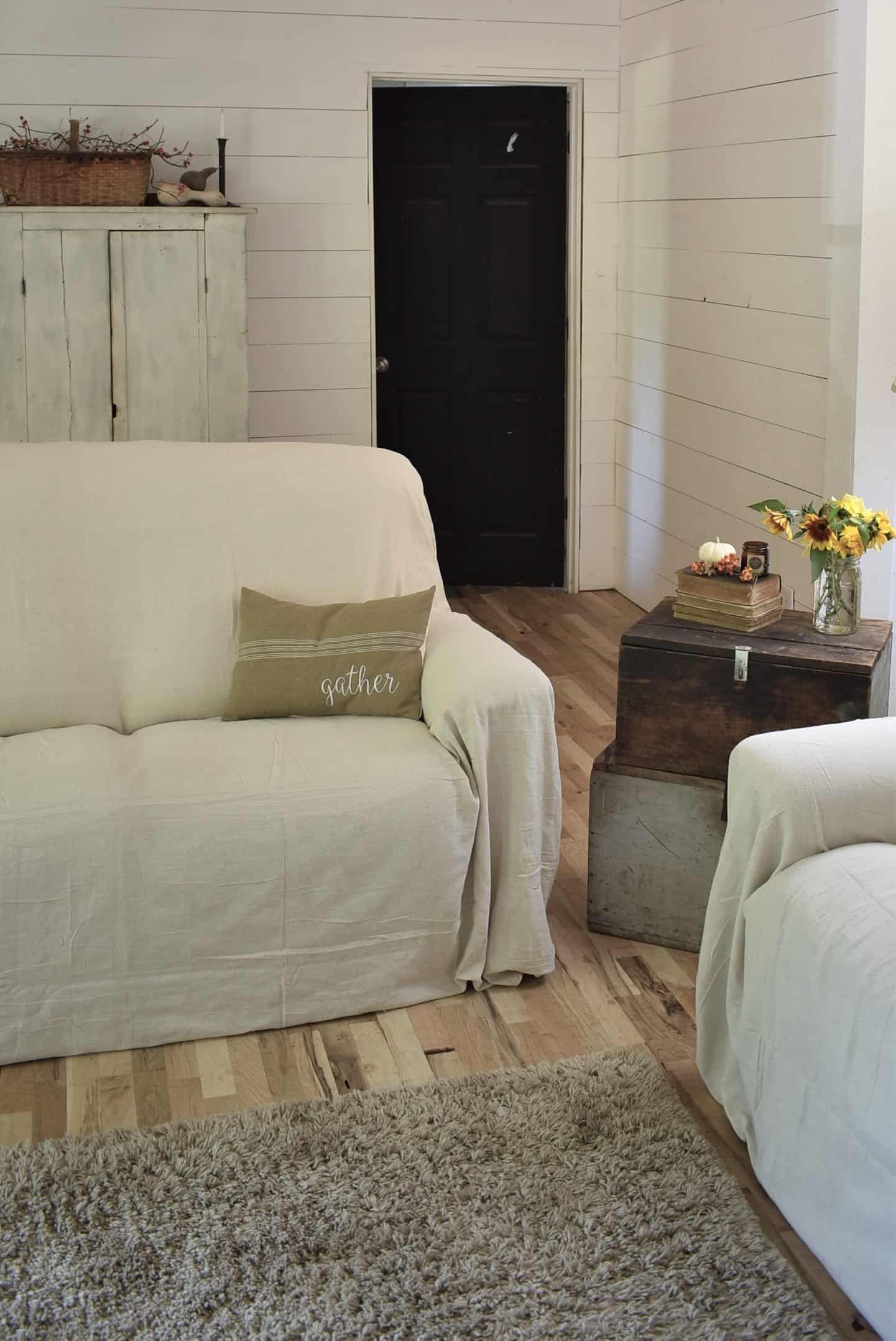 Astounding Drop Cloth Covered Couch Cover Rocky Hedge Farm Onthecornerstone Fun Painted Chair Ideas Images Onthecornerstoneorg